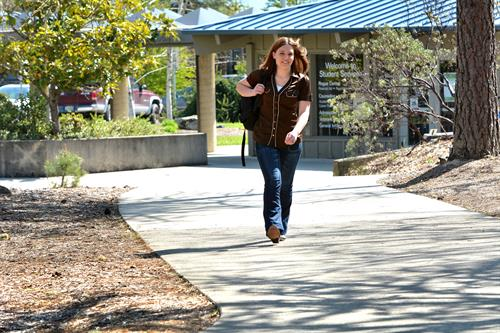 RCC Student walking to class.