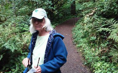 Spouse hiking at Silver Falls Oregon