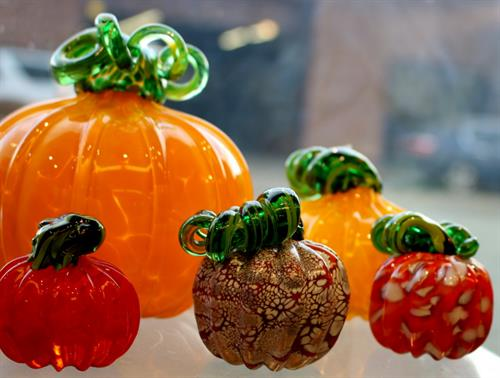Hand-blown glass pumpkin collection
