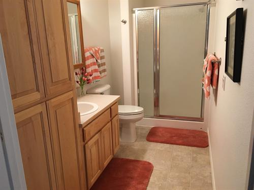 Guest bathroom, cabinets and stall shower