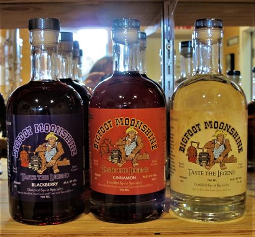 Our latest Bigfoot Moonshine, We have blackberry, cinnamon and Regular Moonshine.