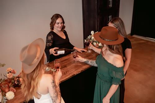 Our beautiful custom bar is mobile! We can set the space just as you desire.