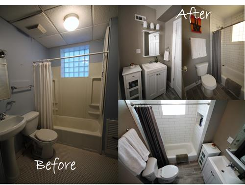 Before and after images of a bathroom renovation