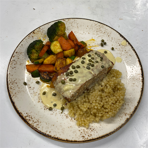 Faroe Island Salmon with Couscos and roasted vegetables