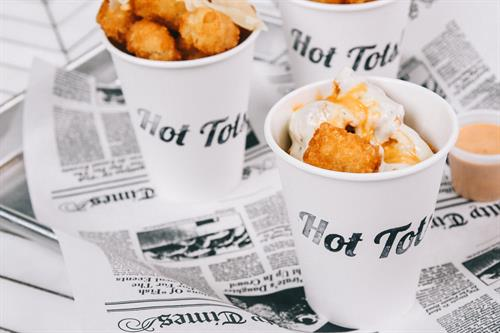 Choose from 3 different tot options: classic, buffalo bleu, or truffle parmesan