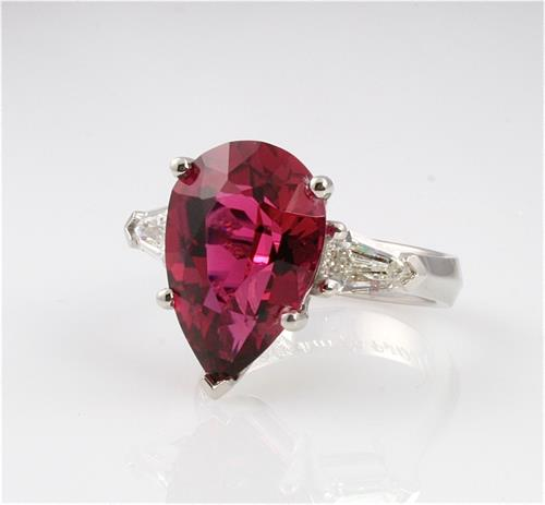 custom platinum ring with rubellite tourmaline and diamonds by Ellie Thompson