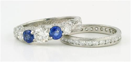 custom sapphire and diamond wedding ring set by Ellie Thompson