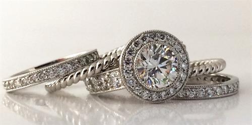Platinum and diamond custom wedding rings by Ellie Thompson