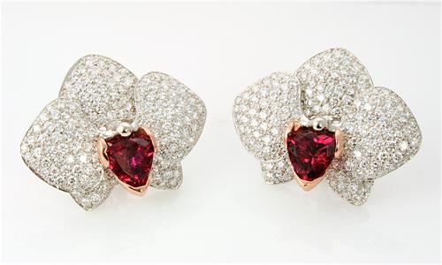 Custom Designed Orchid earrings with Rubellite Tourmalines and diamonds by Ellie Thompson