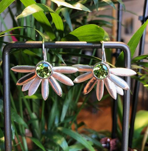 Sterling Silver and Peridot floral earrings by Ellie Thompson