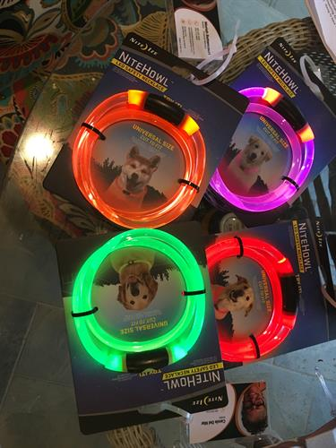 We care about your pets. Free led collars that light up and also blink to help your loved pets say safer