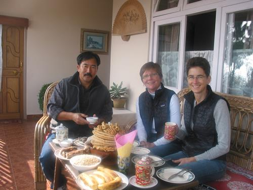 Karma Lama with Coastside friends at his family home in Sikkim