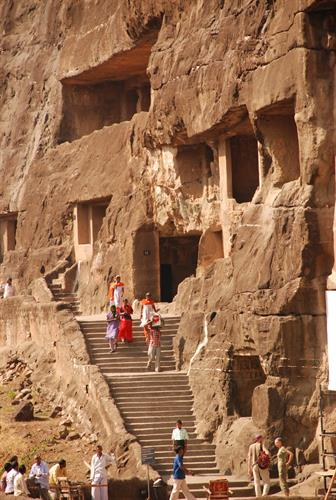 The incredible millenia old art-filled caves of Ellora and Ajanta, India