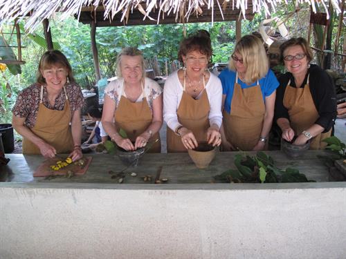 Making our own textile dyes using natural products, Luang Prabang, Laos