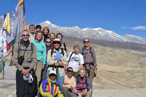 Wendy Lama with trekkers in upper Mustang, Nepal