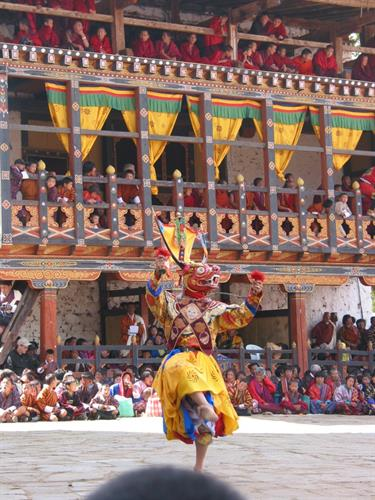 Front row seats at a ritual dance festival in Bhutan.