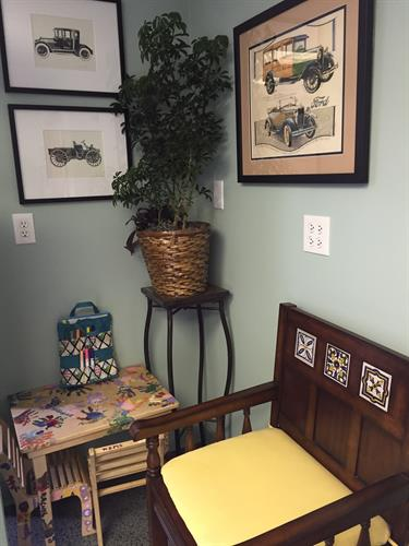 We have a child-friendly corner in the waiting room!