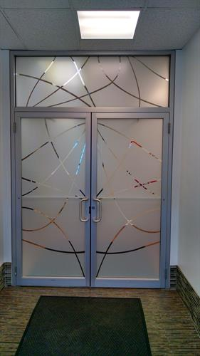 Custom Frost Design on Entry Doors - LLumar White Frost