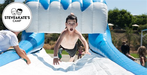 Campers cool off in style with our inflatable slip-and-slide and other water games.