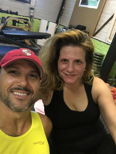 Maria C. With her trainer Tommaso, Oak Park Fitness Client since 2015