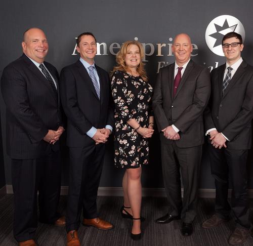 L-R:  CJ Jensen, Managing Director;Tim Silver, Associate Financial Advisor; Lisa Brennan, Executive Assistant; Craig Dannenbrink, Client Service Manager, Thomas Gallo, Associate Financial Advisor