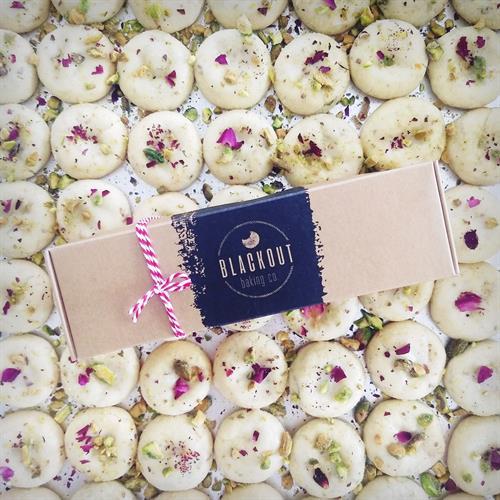 BLACKOUT Box with Orange Rose Pistachio Cookies