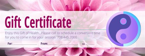 Acupuncture & Massage Gift Certificates make for a Happier Healthier Loved One...