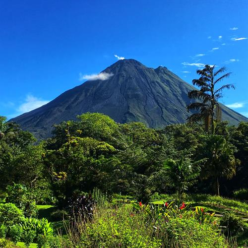 View of Arenal Volcano from our room at Arenal Observatory Lodge, in Costa Rica.