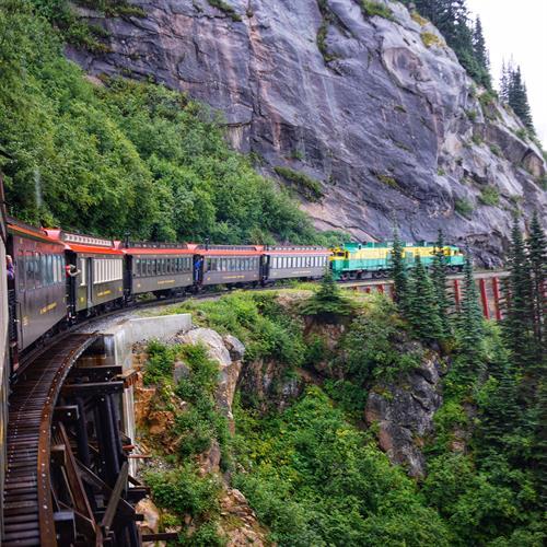 On the White Pass Railroad in Skagway, Alaska.