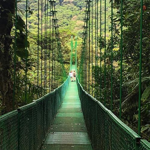 Walking the hanging bridges at Reserva Monteverde in Costa Rica.