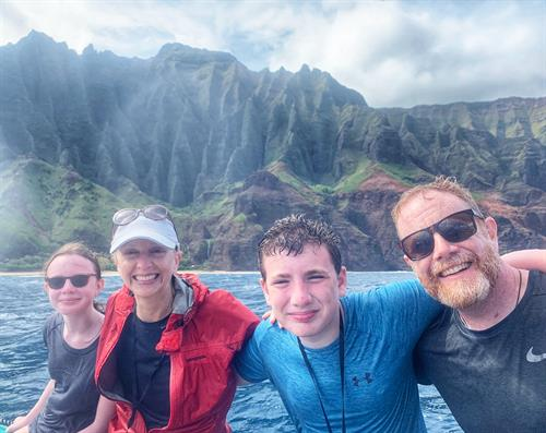 On our boat trip to the Napali Coast in Kauai.