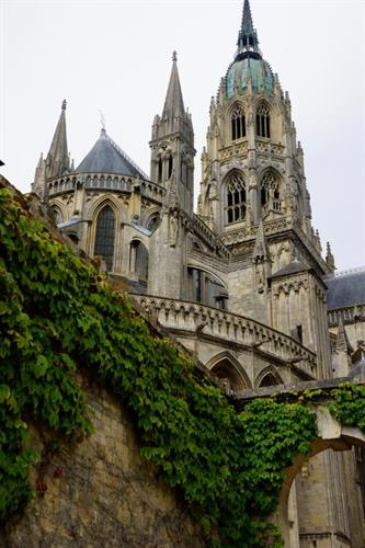 Bayeux Cathedral viewed from below in Bayeux, France.