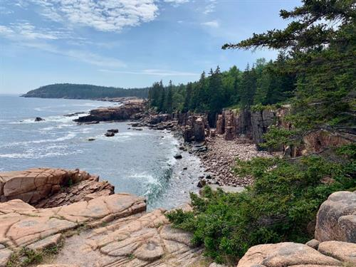 Hiking in Acadia National Park in Maine.