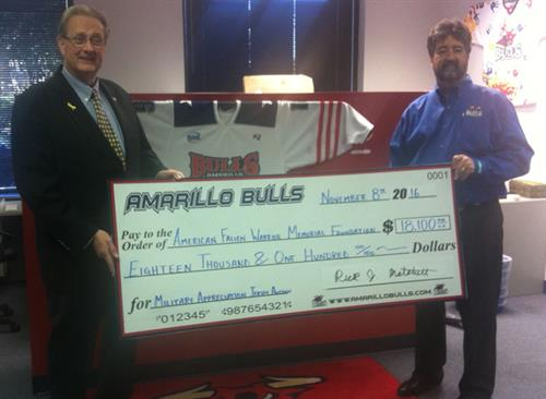 Military Jersey Auction Check Presentation 2016