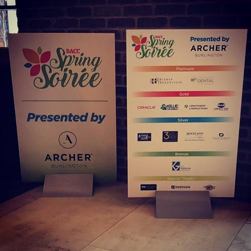 Signage for the Burlington Chamber of Commerce, Spring Soiree!