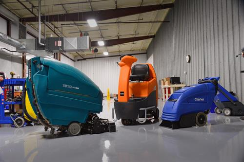 Floor cleaning equipment in USA-CLEAN's Decatur, IL repair shop