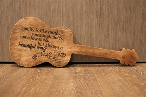 Family Music in Guitar Shape - Rustic Espresso Stain