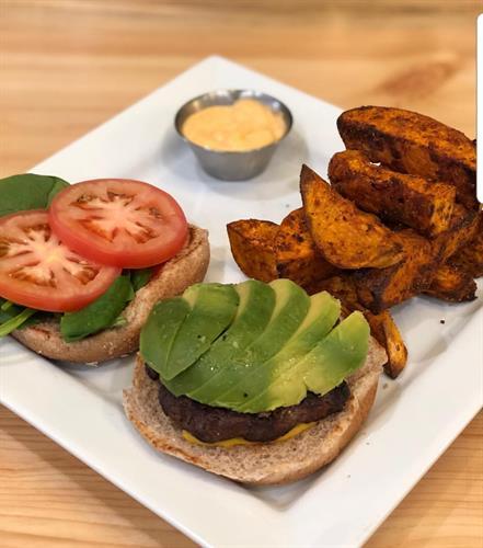 Spinach Avocado Burger with Baked Sweet Potato Fries