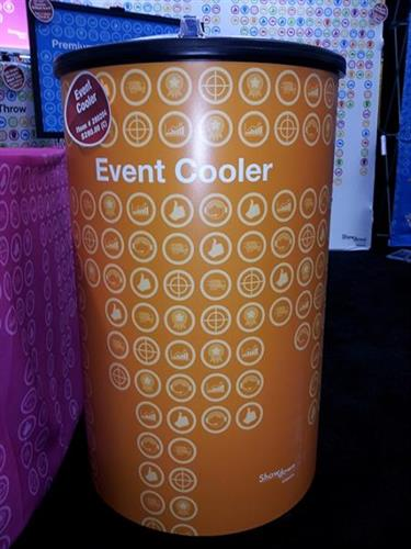 Offer cold beverages with a custom printed TradeShow or Free Standing Cooler.