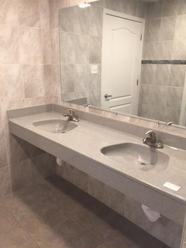 Palmdale RV Resort  Mens and Womens Restroom, Made in USA Countertops