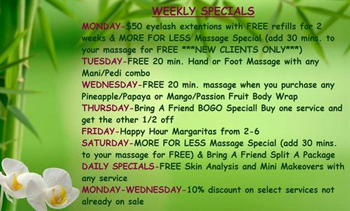Specials everyday of the week!