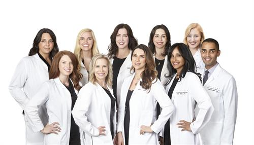 Group photo of our Providers, from left to right (top row): Niki Christopoulos, MD, FACS, Brittany Rank, PA-C, Carolyn Jacob, MD, FAAD, Lauren Fine, MD, FAAD, Caroline Sheppard, PA-C. From Left to right (bottom row): Whitney Hersh, PA-C, Tracy Campbell, MD, FAAD, Rachel Pritzker, MD, FAAD, Nirali Shah-Miller, PA, Omer Ibrahim, MD FAAD