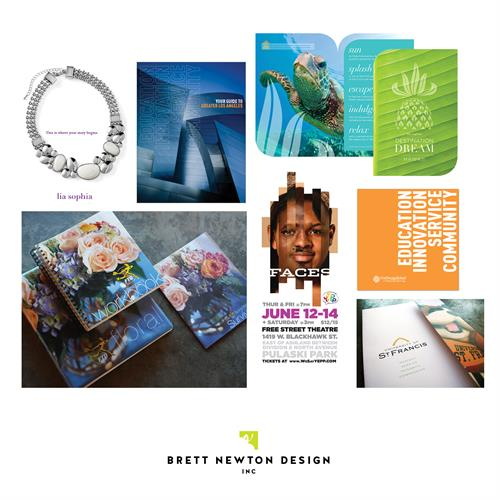 Various samples of marketing collateral by Brett Newton Design, Inc.