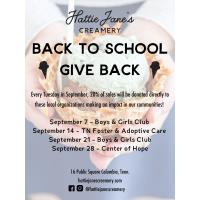 Giving Back is Sweet! Hattie Jane's Creamery Hosts Back-to-School Give Back Days