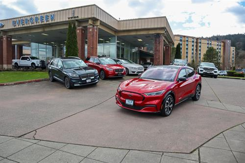 Evergreen Ford Lincoln store front with the new 2021 all Electric Mach-E