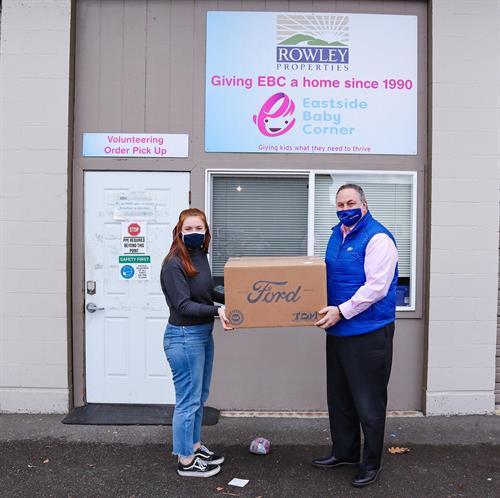 Evergreen Ford donating children's masks to Eastside Baby Corner