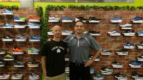 Dr. Lane, owner of Superior Foot Supports (on right) with Troy Unger, manager of Lucky Road Run Shop in Midlothian
