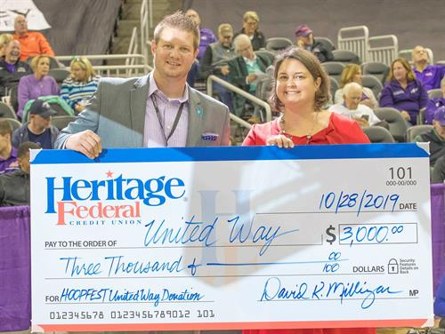 United Way Check Presentation at University of Evansville Hoops Fest
