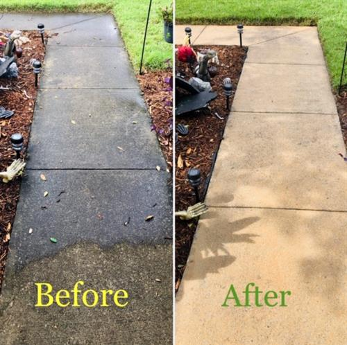 Walkway pressure washed