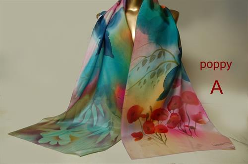 Hand painted silk scarves by Golriz